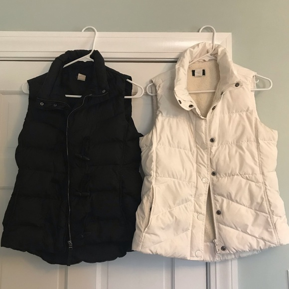 9281f0598 Lot of 2 J. Crew Down Puffer Vests Black Ivory S